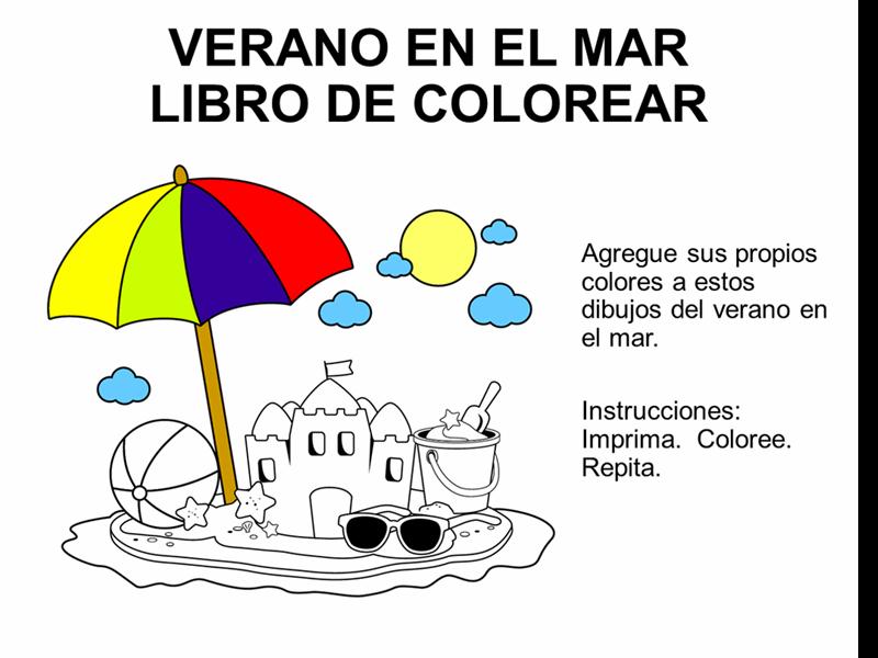 """Libro de colorear con el tema """"el mar en el verano"""""""