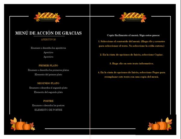 Menú tradicional de Acción de Gracias