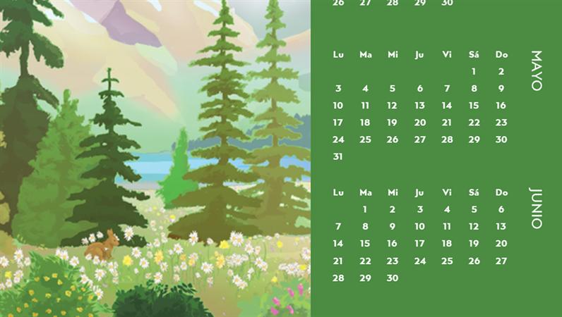 Calendario trimestral de las estaciones con motivo de la naturaleza