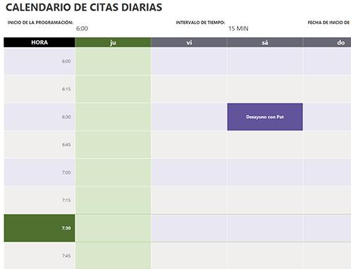 Calendario de citas diario