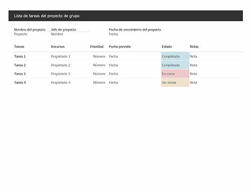 Lista de tareas del proyecto de grupo