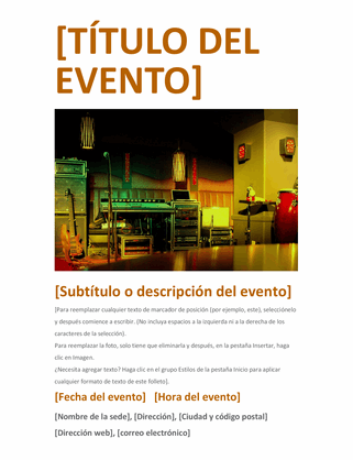 Folleto de evento (naranja)