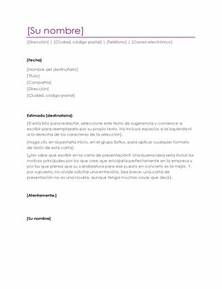 Carta de presentación (violeta)