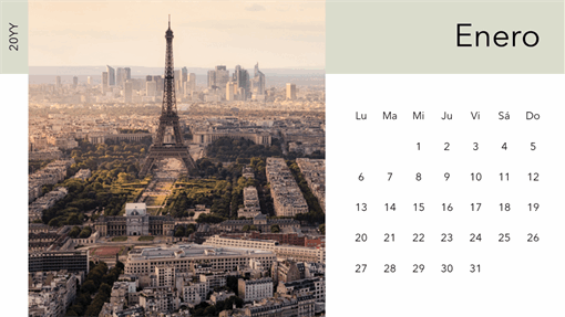 Calendario fotográfico de paisajes urbanos