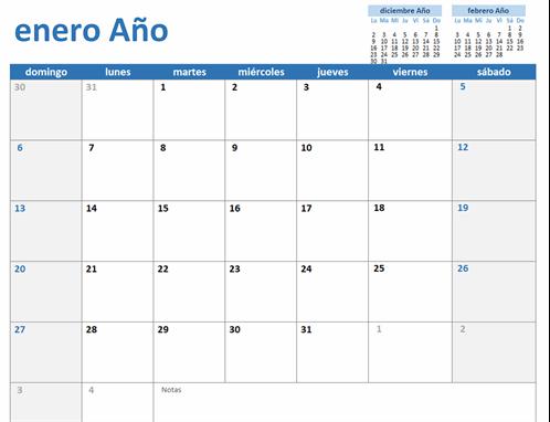 Calendario personalizado de cualquier año