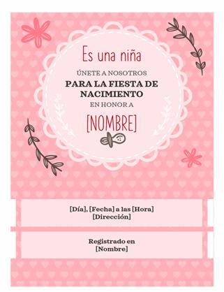 Invitación para fiesta de nacimiento - niña