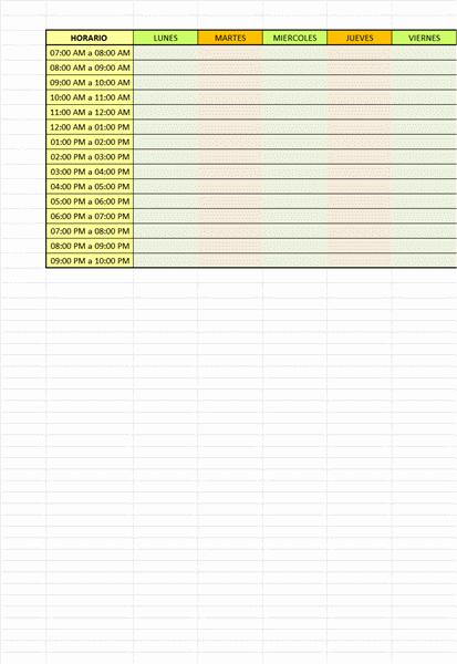 Un horario simple y practico para cursos o clases