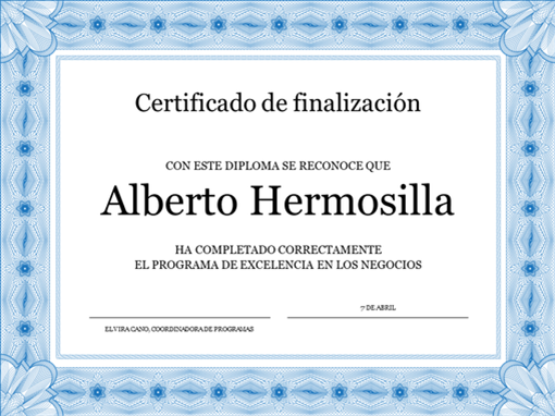 Certificado de finalización del curso (azul)