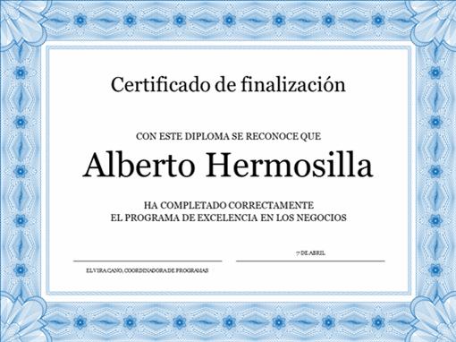 Certificado de finalización (azul)