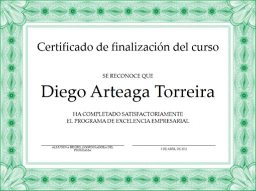 Certificado de finalización del curso (verde)