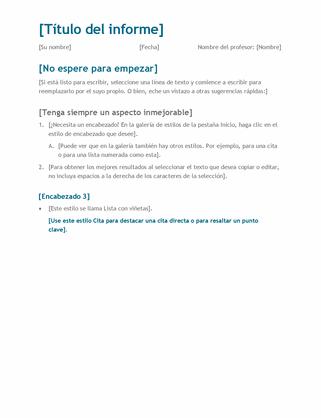 Informe de estudiante simple