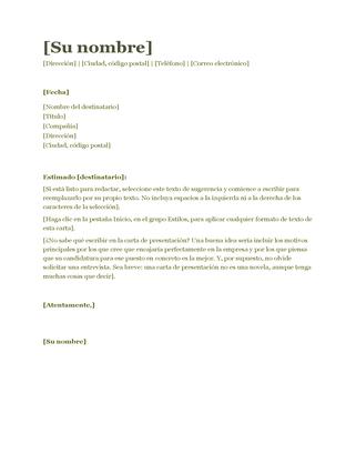 Carta de presentación (verde)