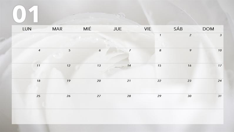 Calendario mensual con diseño floral