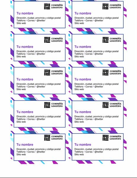 Tarjetas de presentación con gráficos púrpura
