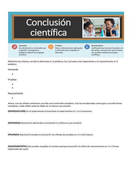 Hoja de cálculo de conclusión científica
