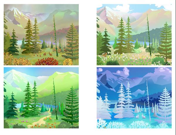 Postales de escenas de la naturaleza