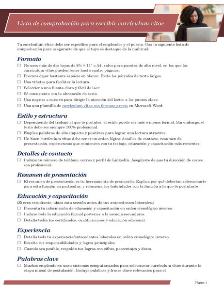 Lista de comprobación para escribir currículum vítae
