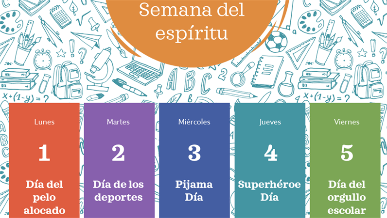 Calendario de la semana del espíritu escolar