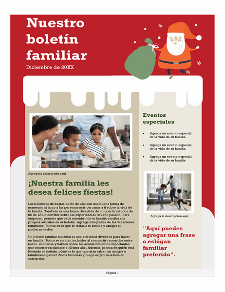 Boletín familiar de Navidad