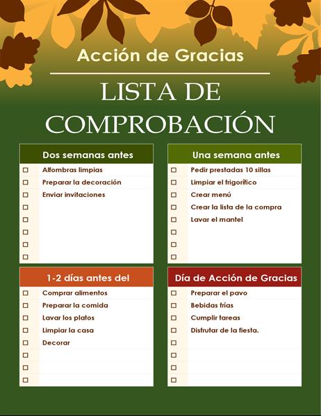 Lista de comprobación verde de Acción de Gracias