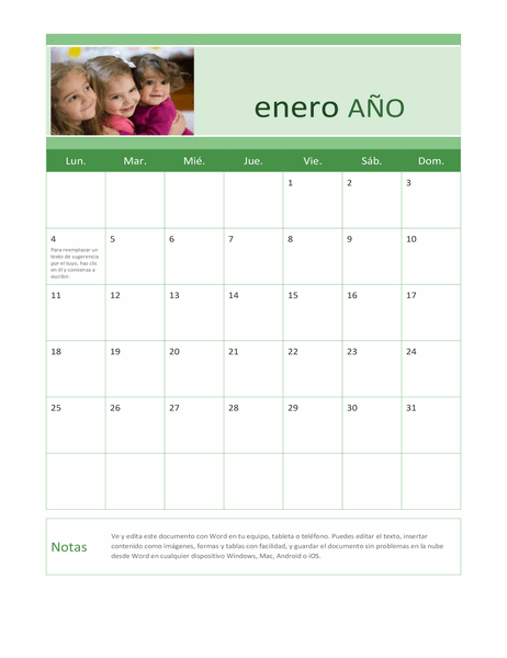 Calendario fotográfico familiar (para cualquier año)