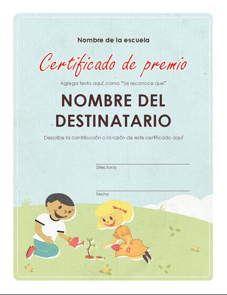 Certificado del premio de educación primaria