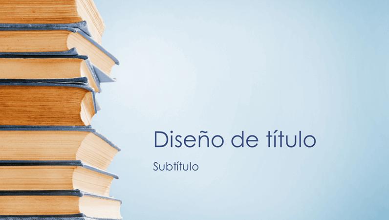 Presentación de pila de libros azules (panorámica)