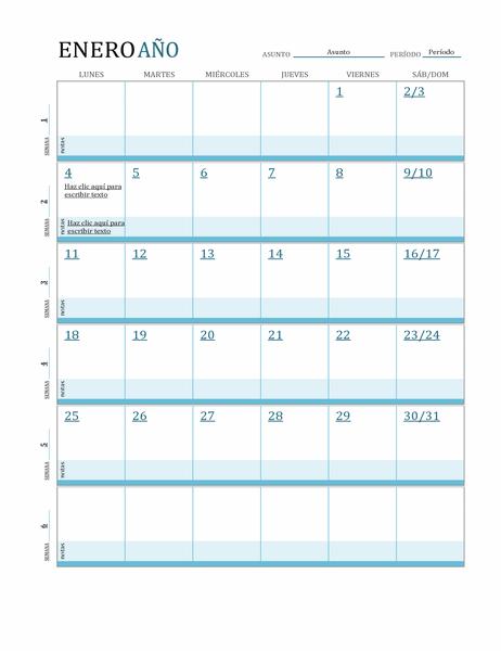 Calendario de plan de estudios