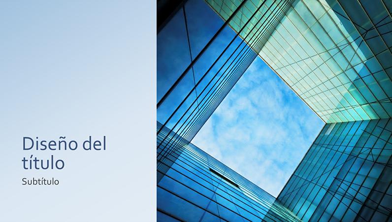 Presentación empresarial o de marketing con un bloque cuadrado de cristal (pantalla panorámica)