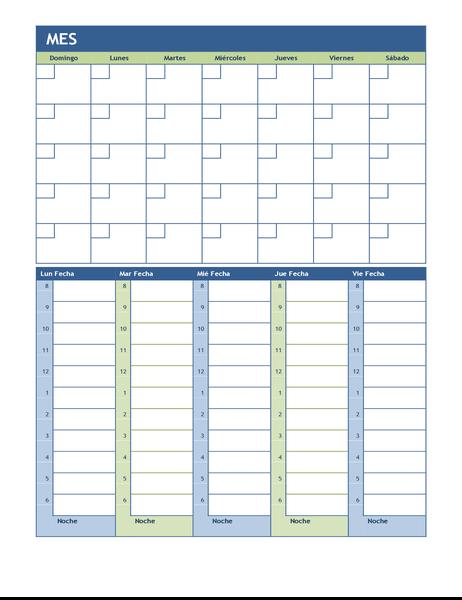 Calendario de planificación semanal y mensual