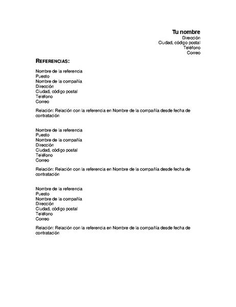 Referencias de currículum vítae