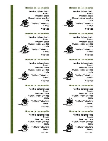Tarjetas de presentación (10 por cada página)