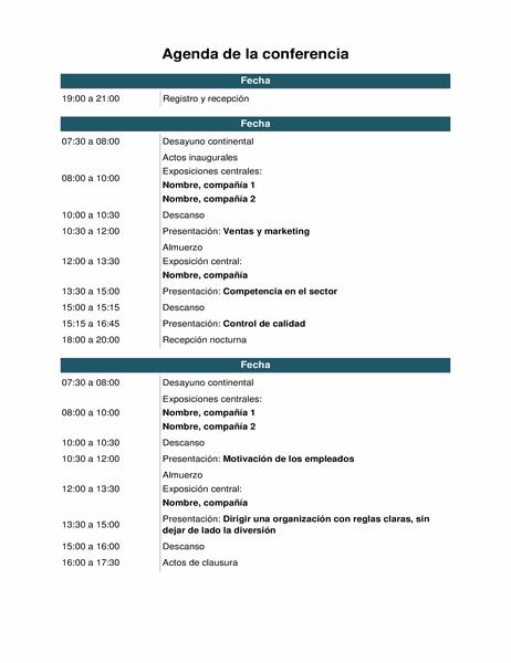 Agenda de evento de conferencia