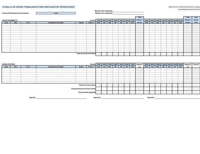 Tarjeta de horas trabajadas para empleado de operaciones