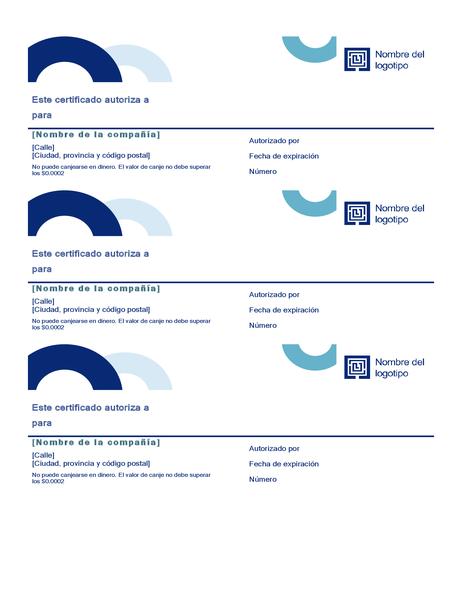 Cupones de regalo (diseño de arco, 3 por página)