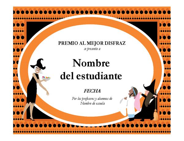 Premio al mejor disfraz de Halloween