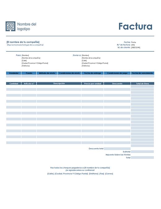 Factura de ventas (diseño azul sencillo)