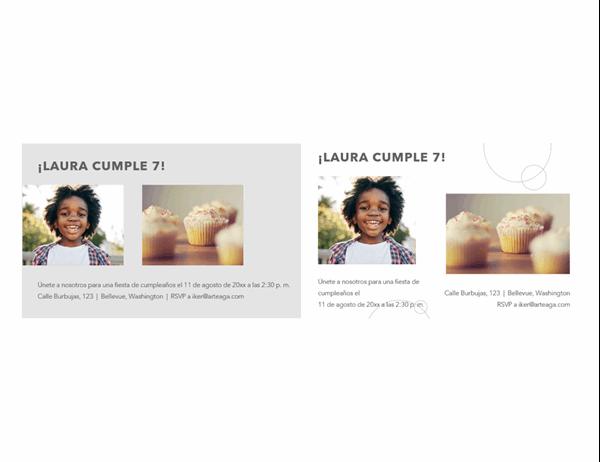 Postales con fotos de invitación a fiestas de cumpleaños (2 por página)