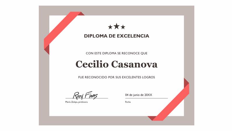 Certificado de excelencia (borde azul formal)