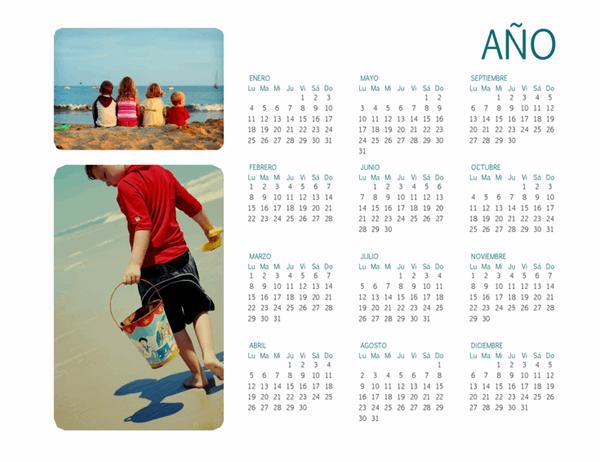 Calendario fotográfico familiar (cualquier año, 1 página)