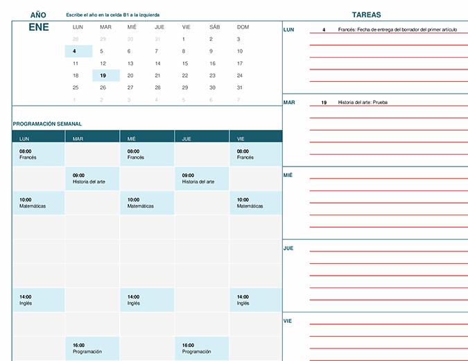 Calendario para estudiantes (lu.)