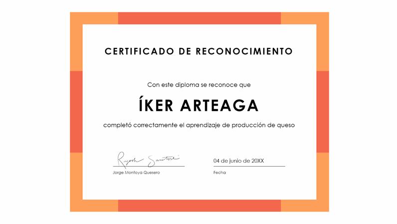 Certificado de reconocimiento con banda de color