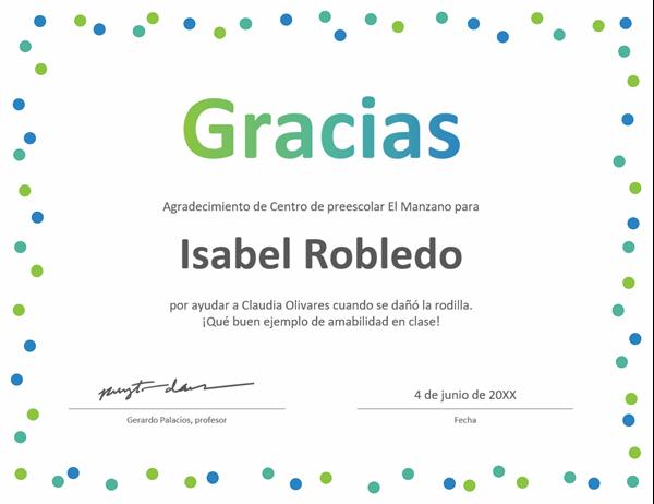 Certificado de agradecimiento con confeti