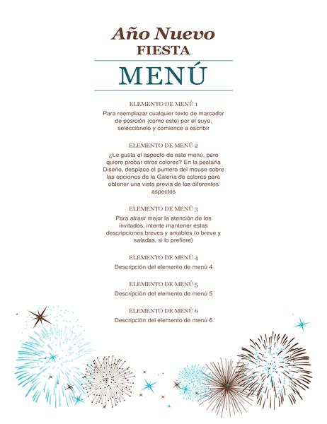 Menú de fiesta de Año Nuevo