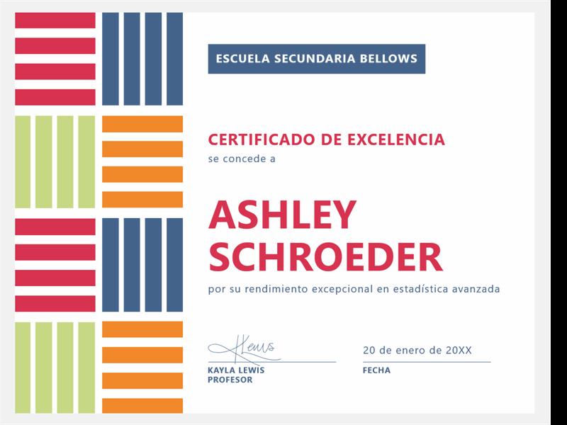 Certificado de excelencia para estudiante de bloque de color