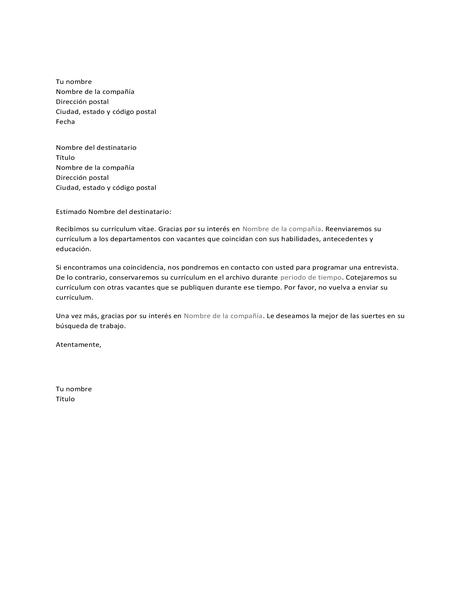Carta de acuse de recibo para candidato a puesto de trabajo