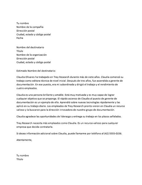 Carta de recomendación de empleado gerencial