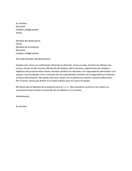 Carta de renuncia debido a un conflicto con el jefe