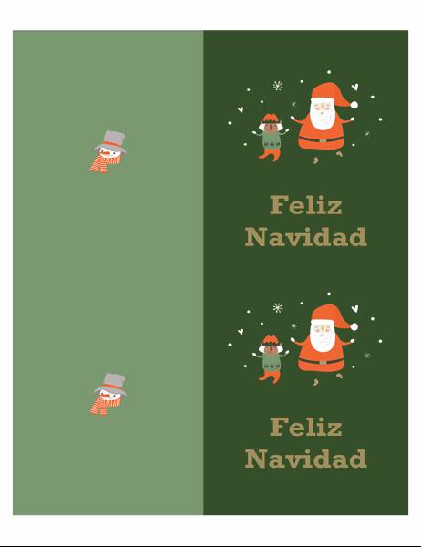 Tarjetas de Navidad (diseño Espíritu navideño, 2 por página, para papel Avery)