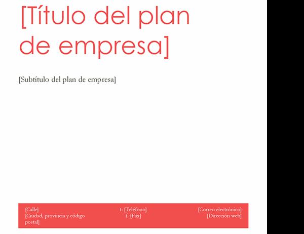 Plan de negocio (diseño en rojo)